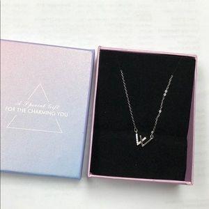 """W"" silver charm necklace"